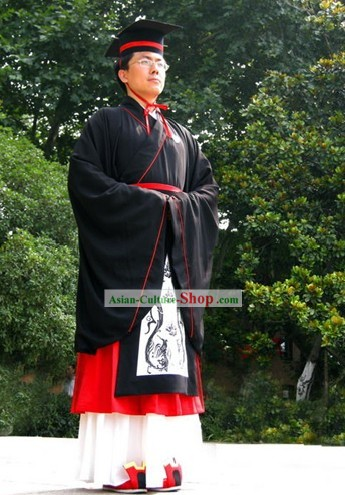 Traditional Chinese Doctor Degree Graduation Robe Hanfu Complete Set