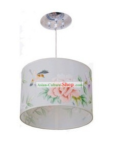 Chinese Classical Hand Painted Flower and Bird Silk Chandelier