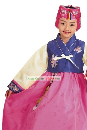 Traditional Korean Children Girl Birthday Hanbok Clothing