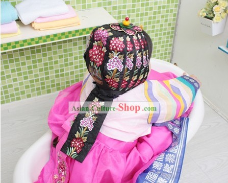 Korean Formal Birthday Hanbok and Hat for Female Kids