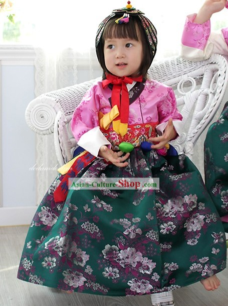 Korean Birthday Hanbok and Hat for Girls