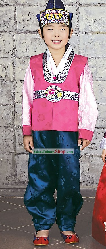 Traditional Korean Hanbok and Hat for Male Kids