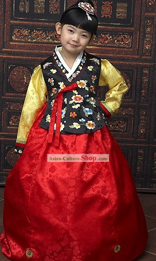 Traditional Korean Children National Costumes Complete Set