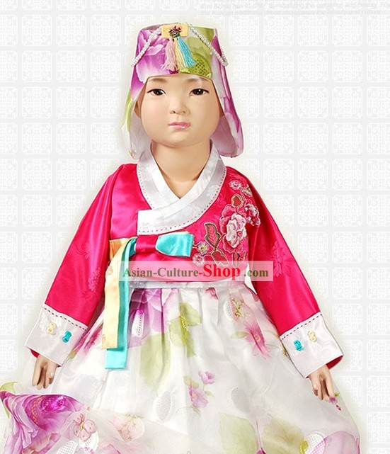 Traditional Korean Ceremonial Hanbok and Hat Complete Set