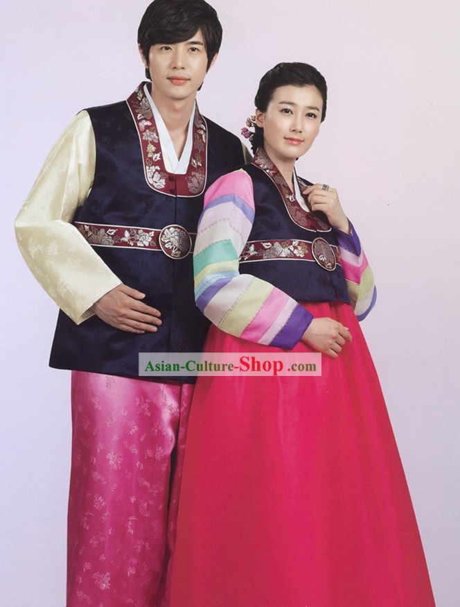Traditional Korean Couple Hanbok Clothing 2 Sets