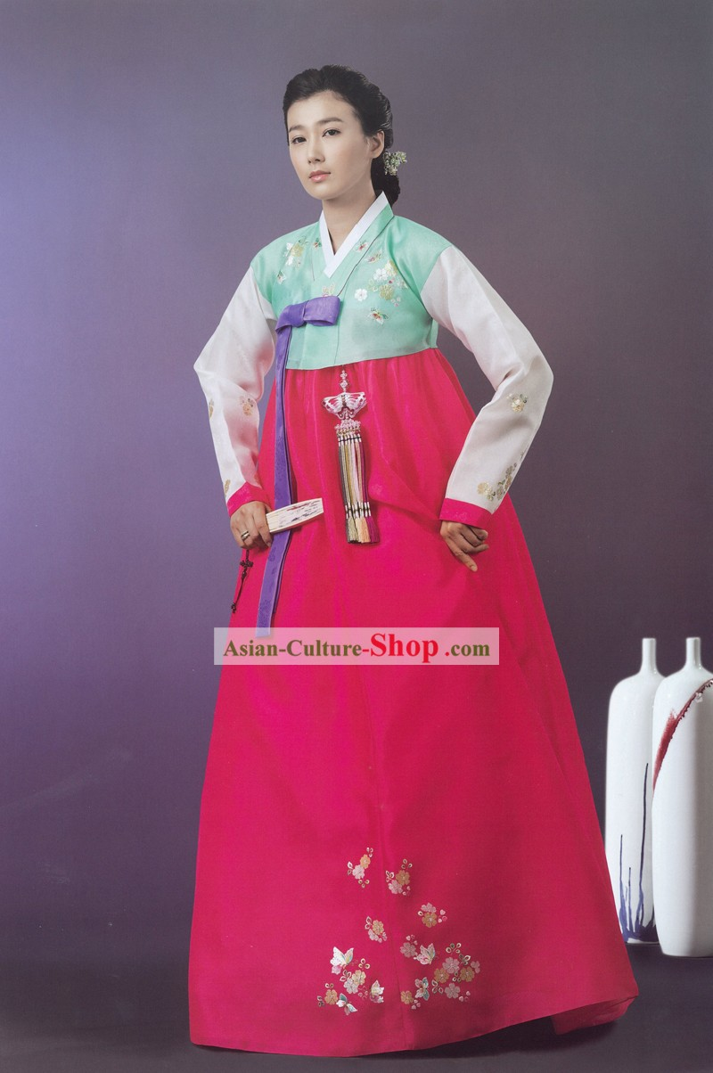 Traditional Korean Women Festival Celebration Ceremonial Hanbok Set