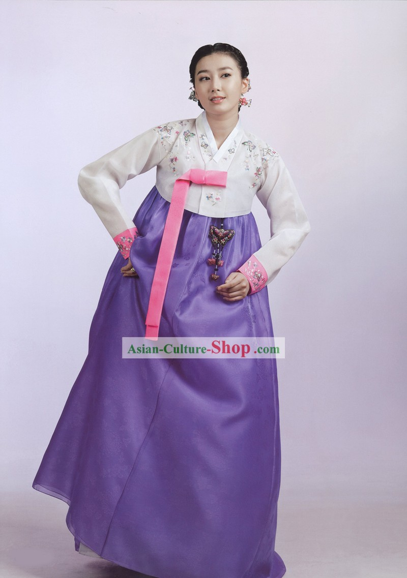 Traditional Korean Women Royal Hanbok Costumes Complete Set