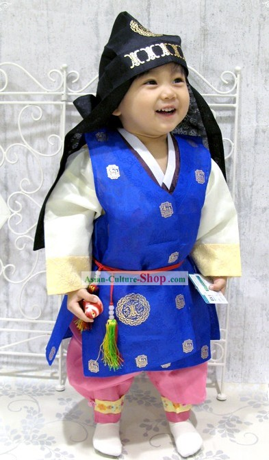 Traditional Korean Birthday Ceremony Hanbok and Hat Set