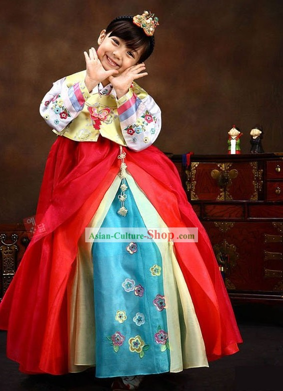 Traditional Korean Children Girl Ethnic Hanbok Clothing