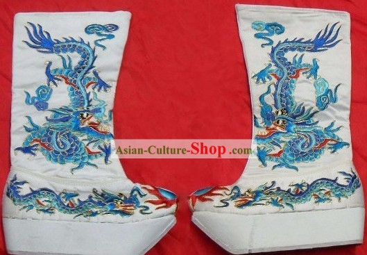 Chinese Peking Opera Wusheng Embroidered Dragon Boots