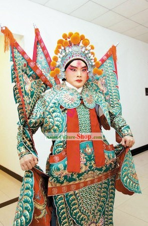 Chinese Peking Opera Wusheng Da Kao Armor Costumes Full Set