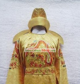 Chinese Tang Dynasty Emperor Dragon Clothing and Hat Full Set