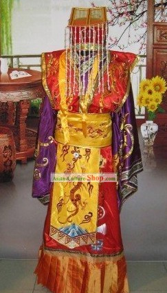 Ancient Song Dynasty Emperor Dragon Costumes and Coronet Set