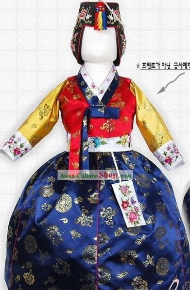Traditional Korean Palace Princess Hanbok Costumes and Hat Complete Set