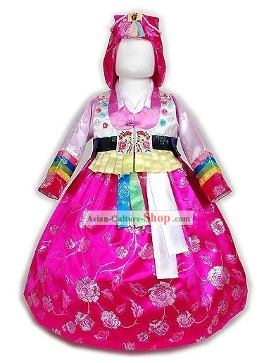 Traditional Korean Hanbok Costumes and Hat Complete Set