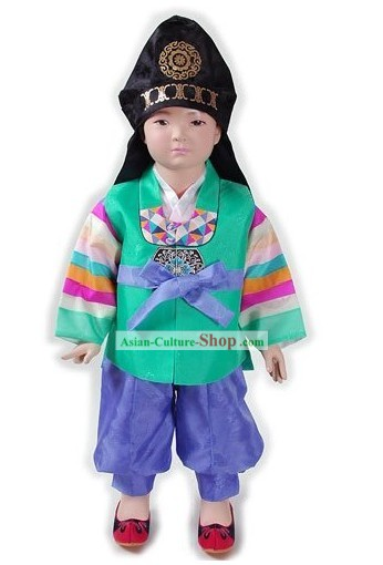 Korean Classical Boys Hanbok Clothing and Hat Complete Set