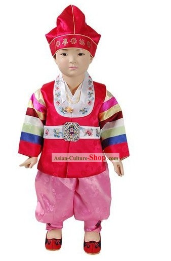 Traditional Korean Baby Hanbok Dress and Hat Complete Set