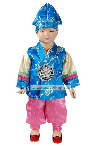 Traditional Korean Baby Hanbok Clothes and Hat Complete Set