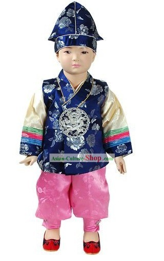 Traditional Korean Baby Boy Hanbok Clothing and Hat Complete Set