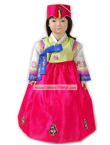 Traditional Korean Baby Girl Hanbok Clothing and Hat Complete Set