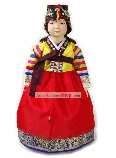 Traditional Korean Imperial Court Hanbok Clothing and Hat Complete Set for Girls