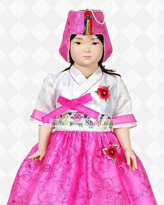 Traditional Korean Hanbok Clothing and Hat Complete Set for Girls