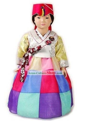 Traditional Korean Birthday Ceremonial Hanbok Clothing and Hat Complete Set