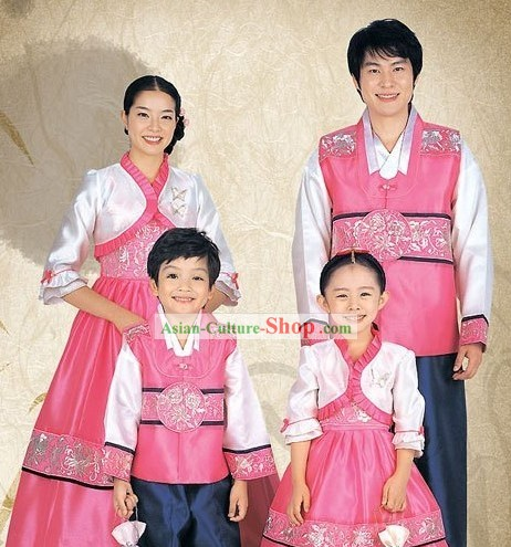 Traditional Korean Family Mother Father Son Daughter Wedding Hanbok 4 Sets