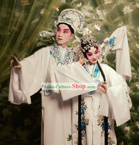 Chinese Peking Opera The Peacocks Fly to the Southeast Costume 2 Sets for Men and Women