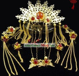 Ancient Chinese Hanfu Headpiece and Earrings Complete Set
