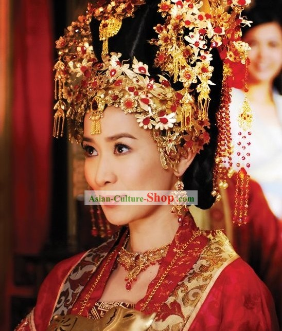 Ancient Chinese Princess Wedding Headpiece, Earrings and Necklace Complete Set