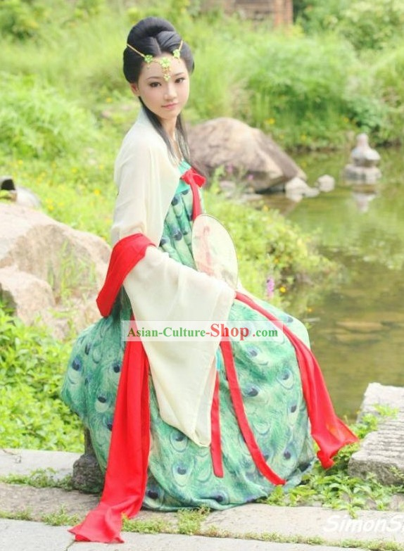 Ancient Chinese Tang Dynasty Peacock Clothing Complete Set