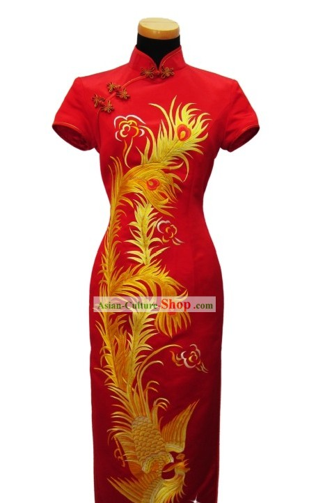 Chinese Classic Embroidered Golden Phoenix Wedding Qipao