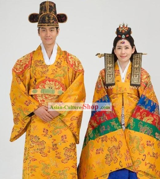 Traditional Korean Wedding Court Hanbok Dress 2 Sets for Men and Women