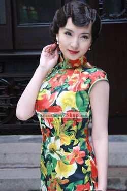 Chinese Short Flower Cheongsam