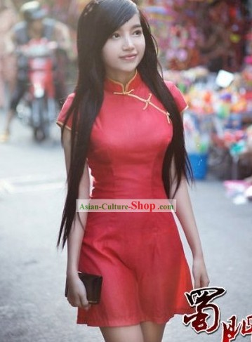 Chinese Silk Modern Red Short Qipao