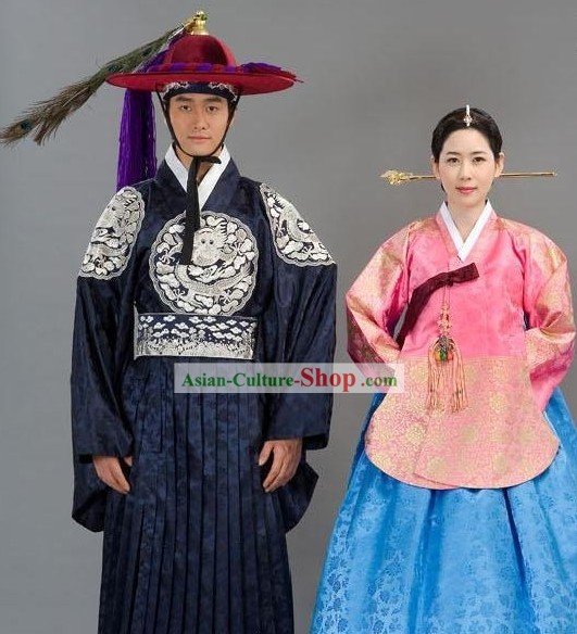 Traditional Korean Wedding Clothing 2 Sets For Men And Women