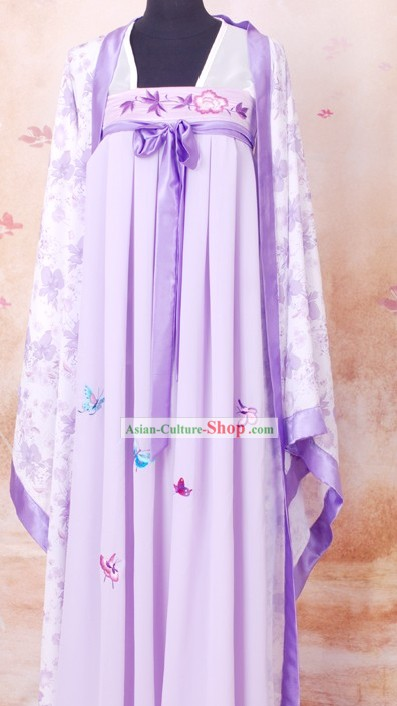 Tang Dynasty Embroidered Butterfly Purple Princess Dress