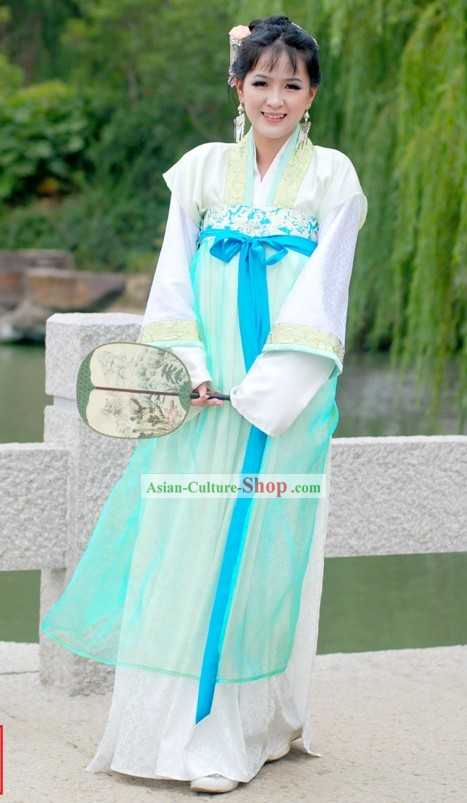 Ancient Chinese Imperial Palace Lady Light Green Clothing Set