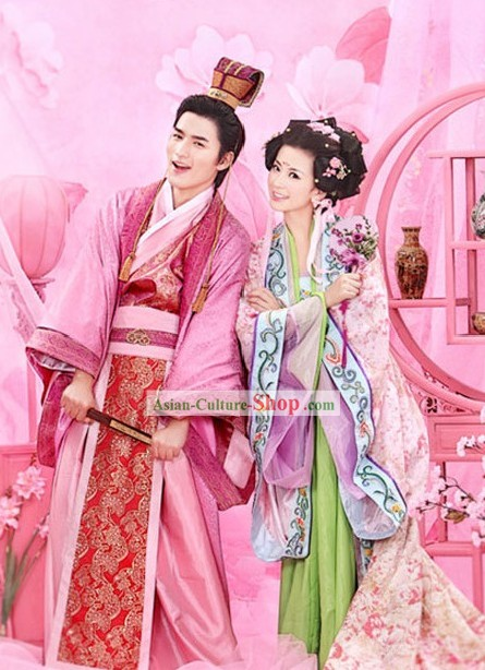 Romantic Traditional Chinese Wedding Hanfu Dress 2 Sets for Couple