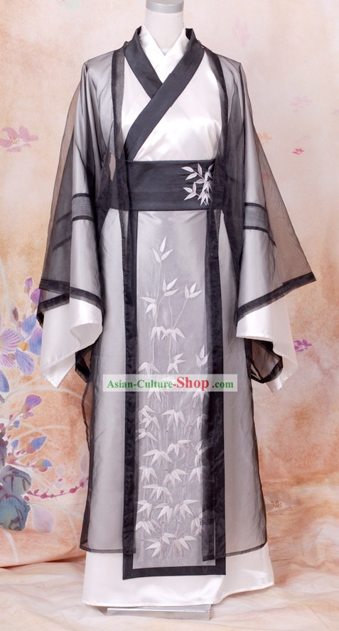 Ancient Chinese Wise Men Embroidered Bamboo Clothing Han Fu Complete Set for Men