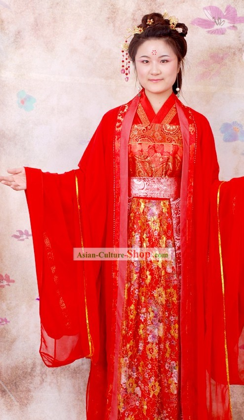 Ancient Chinese Red Wedding Ceremonial Clothing Complete Set
