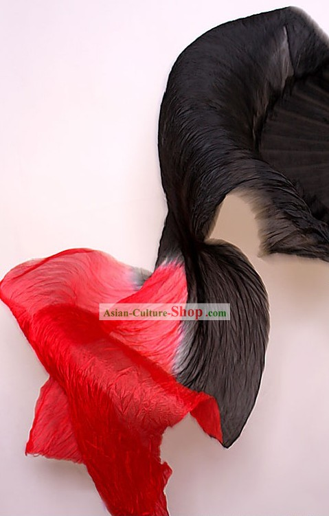 Black to Red Color Transition Silk Dance Fan