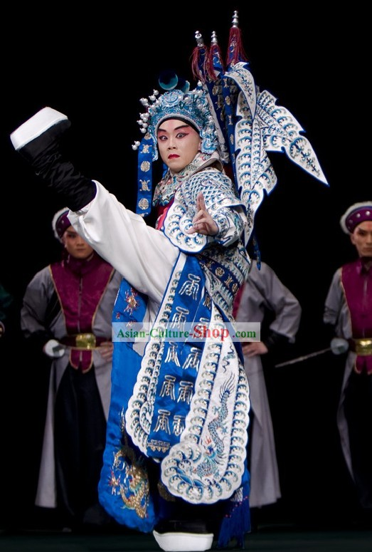 Beijing Opera Wu Sheng Fighting or Military Character Costumes and Hat
