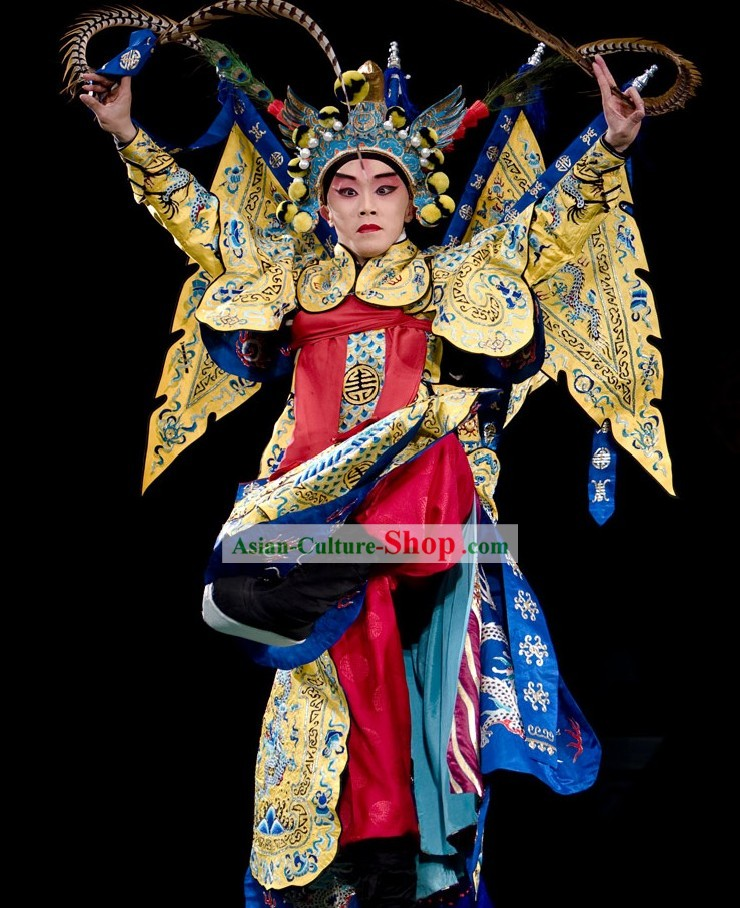 Beijing Opera Wu Sheng Fighting or Military Character Costumes and Hat with Long Feather