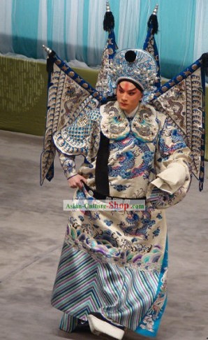 Beijing Opera Wu Sheng Costumes and Hat with Flags