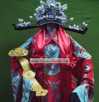 Ancient Chinese Opera Fu Xing Lucky Star Costumes and Hat