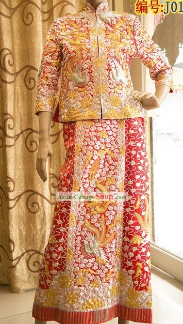 Mandarin Dragon Phoenix Wedding Dress Set