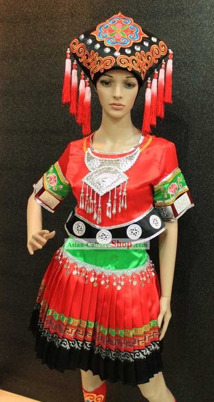 Chinese Folk Tribe Dance Costumes and Hat
