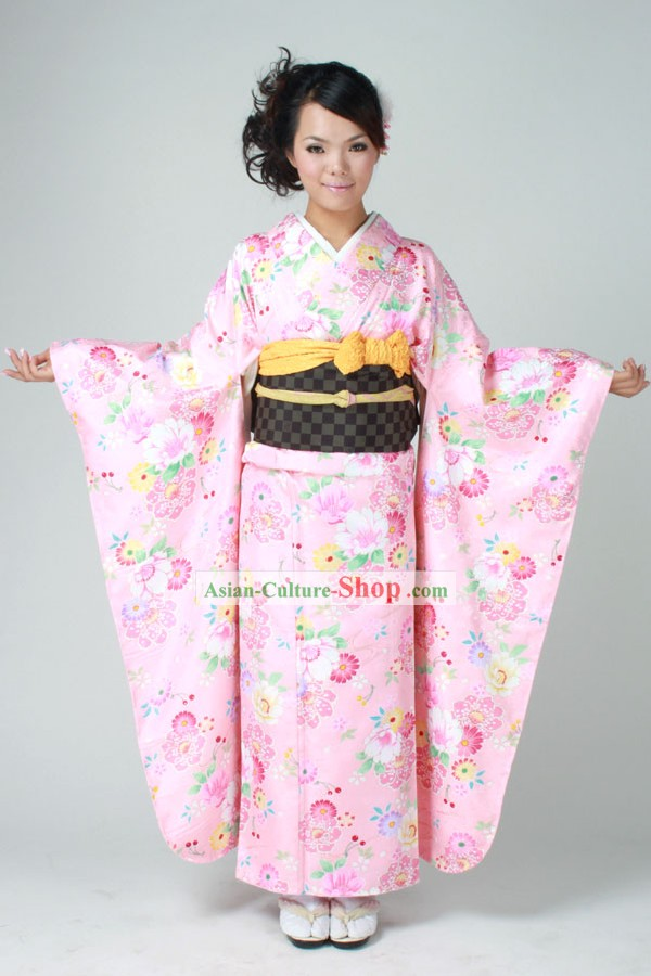 Traditional Japanese Pink Furisode Kimono Dress Obi and Geta Sandal Complete Set for Women